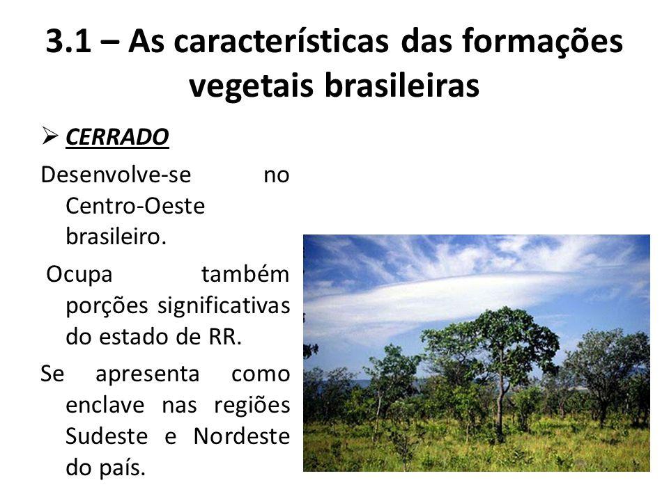  CERRADO Desenvolve-se no Centro-Oeste brasileiro. Ocupa também porções significativas do estado de RR. Se apresenta como enclave nas regiões Sudeste