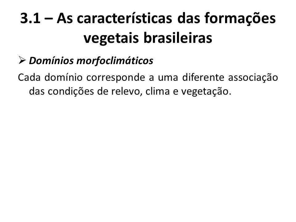  Domínios morfoclimáticos Cada domínio corresponde a uma diferente associação das condições de relevo, clima e vegetação. 3.1 – As características da