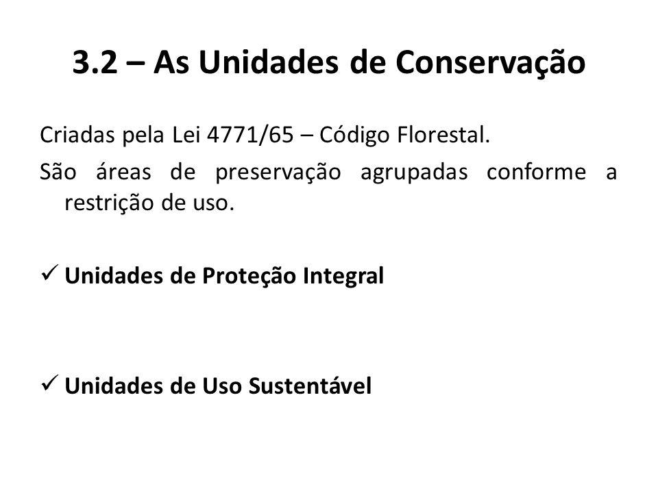 3.2 – As Unidades de Conservação Criadas pela Lei 4771/65 – Código Florestal. São áreas de preservação agrupadas conforme a restrição de uso. Unidades