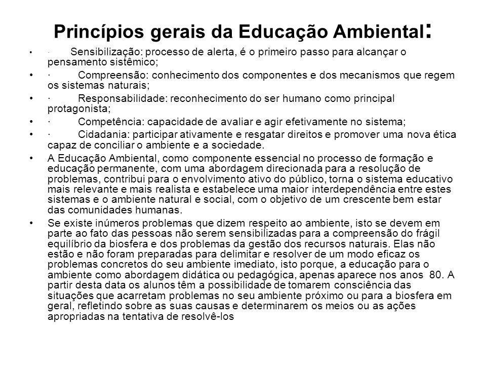 Princípios gerais da Educação Ambiental : · Sensibilização: processo de alerta, é o primeiro passo para alcançar o pensamento sistêmico; · Compreensão