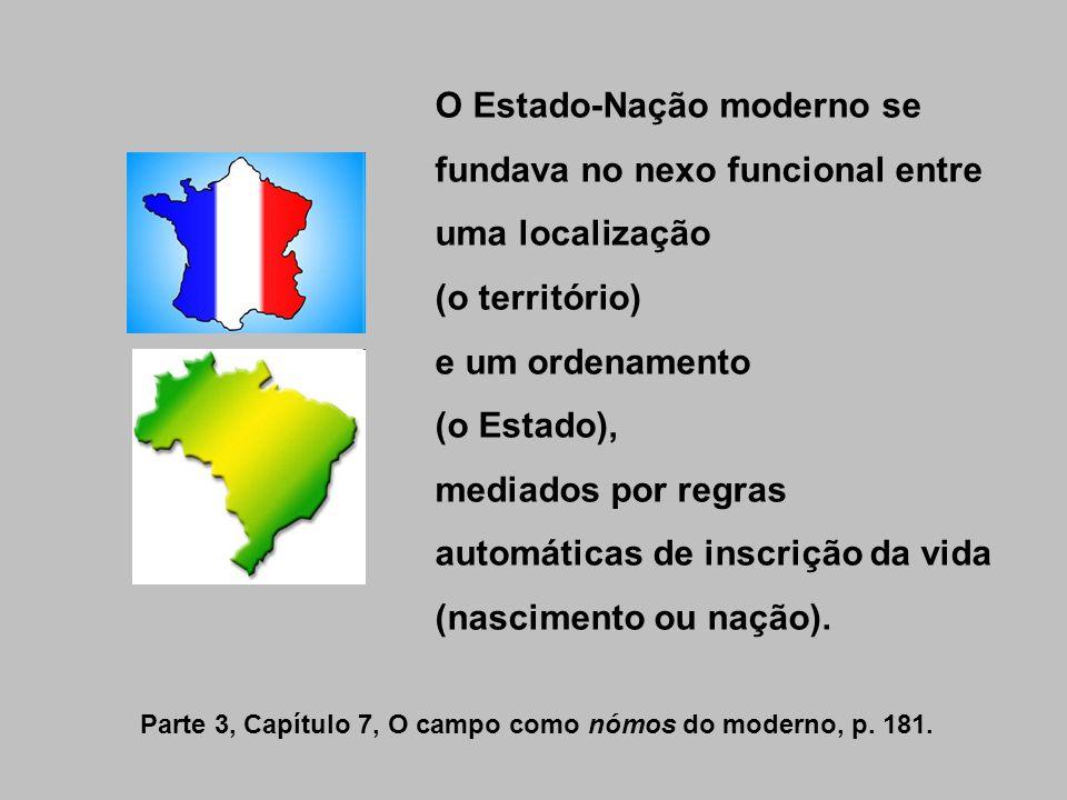 O Estado-Nação moderno se fundava no nexo funcional entre uma localização (o território) e um ordenamento (o Estado), mediados por regras automáticas