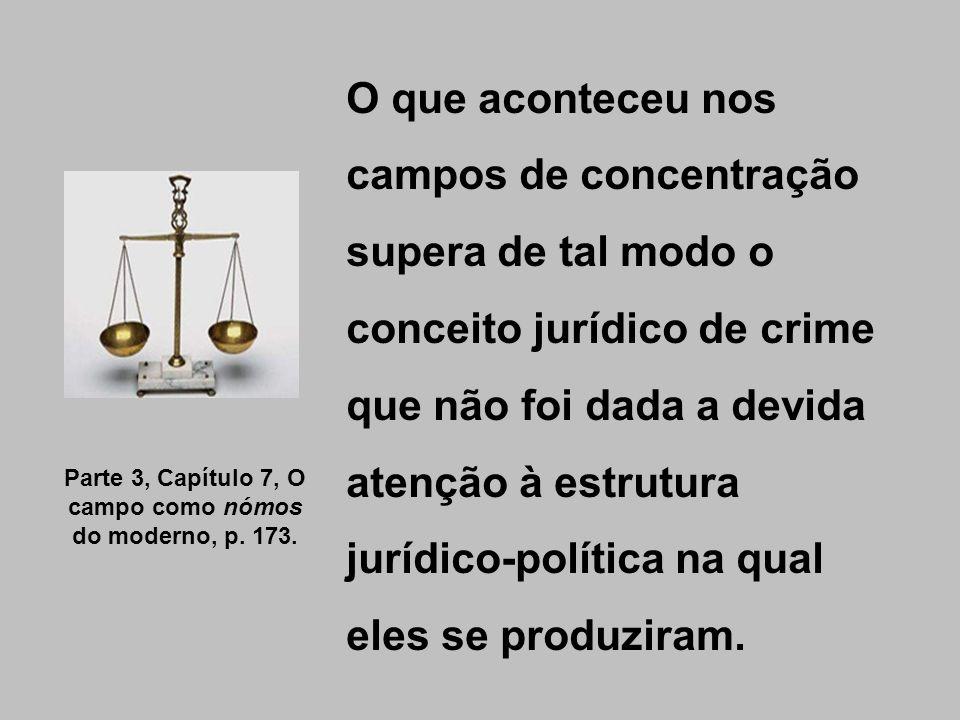O que aconteceu nos campos de concentração supera de tal modo o conceito jurídico de crime que não foi dada a devida atenção à estrutura jurídico-polí