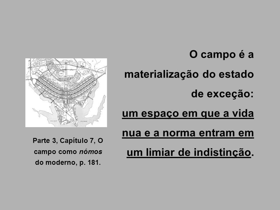 O campo é a materialização do estado de exceção: um espaço em que a vida nua e a norma entram em um limiar de indistinção. Parte 3, Capítulo 7, O camp