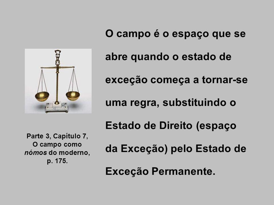 O campo é o espaço que se abre quando o estado de exceção começa a tornar-se uma regra, substituindo o Estado de Direito (espaço da Exceção) pelo Esta