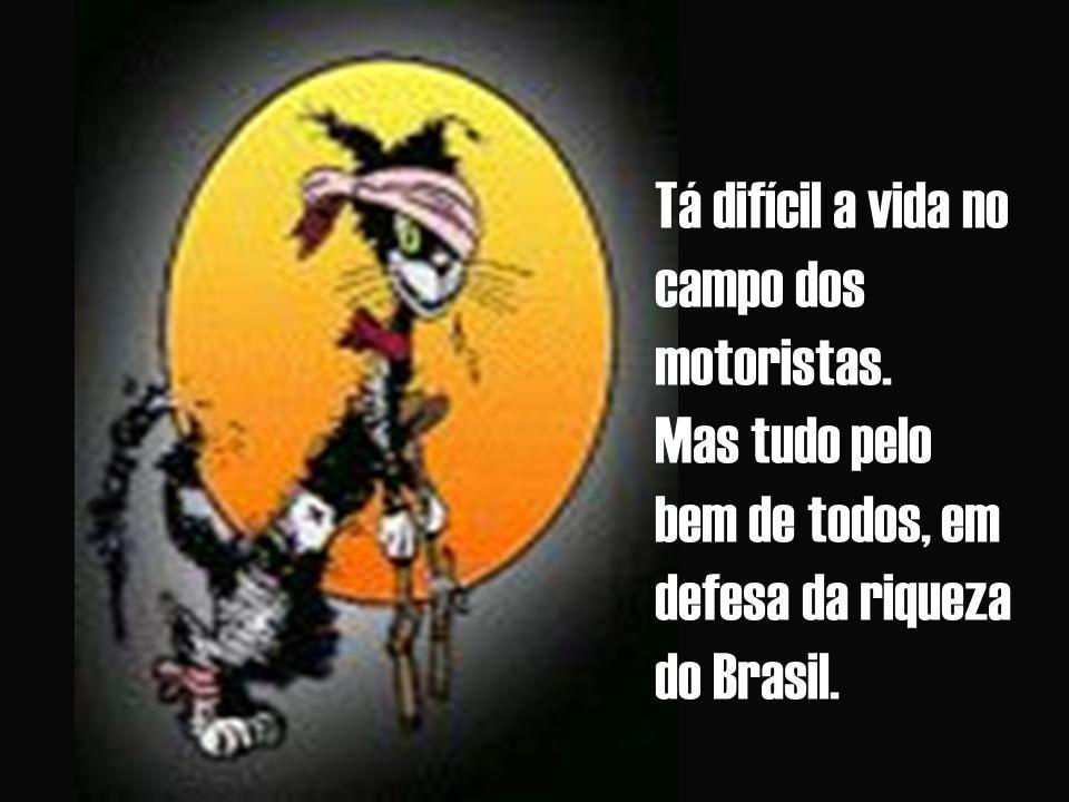 Tá difícil a vida no campo dos motoristas. Mas tudo pelo bem de todos, em defesa da riqueza do Brasil.