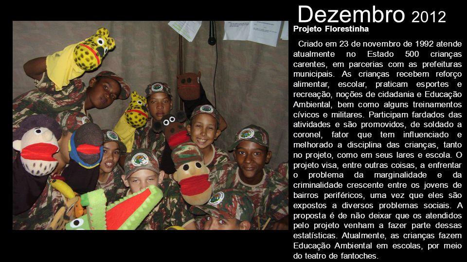 Dezembro 2012 Projeto Florestinha Criado em 23 de novembro de 1992 atende atualmente no Estado 500 crianças carentes, em parcerias com as prefeituras