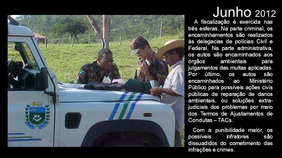 Junho 2012 A fiscalização é exercida nas três esferas. Na parte criminal, os encaminhamentos são realizados às delegacias de polícias Civil e Federal.