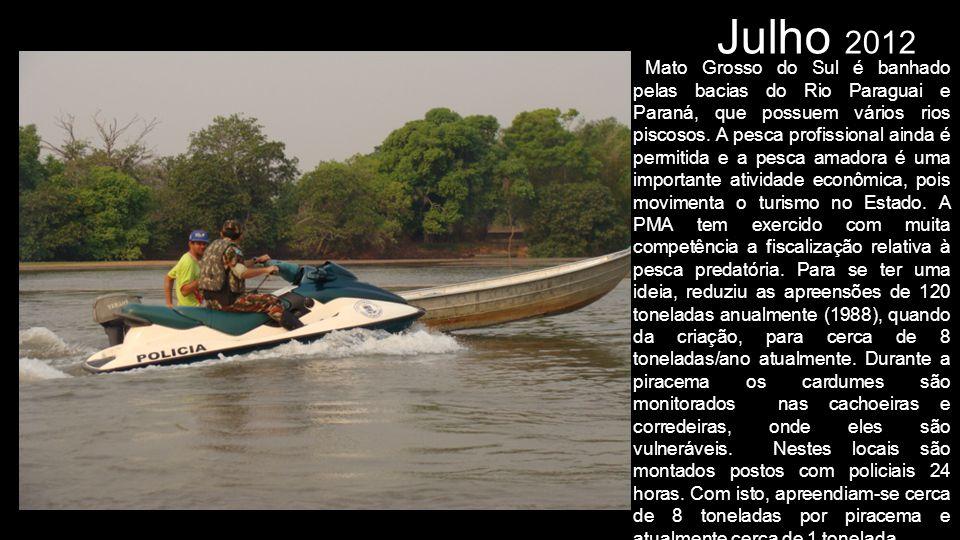 Julho 2012 Mato Grosso do Sul é banhado pelas bacias do Rio Paraguai e Paraná, que possuem vários rios piscosos. A pesca profissional ainda é permitid
