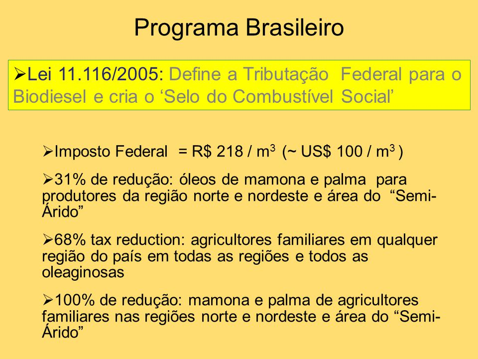  Lei 11.116/2005: Define a Tributação Federal para o Biodiesel e cria o 'Selo do Combustível Social'  Imposto Federal = R$ 218 / m 3 (~ US$ 100 / m
