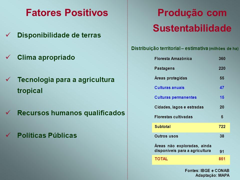 Produção com Sustentabilidade Fontes: IBGE e CONAB Adaptação: MAPA Distribuição territorial – estimativa (milhões de ha) 851TOTAL 91 Áreas não explora