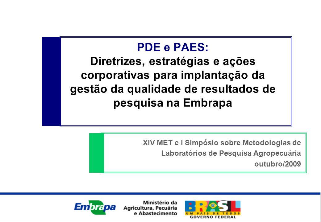 PDE e PAES: Diretrizes, estratégias e ações corporativas para implantação da gestão da qualidade de resultados de pesquisa na Embrapa XIV MET e I Simpósio sobre Metodologias de Laboratórios de Pesquisa Agropecuária outubro/2009