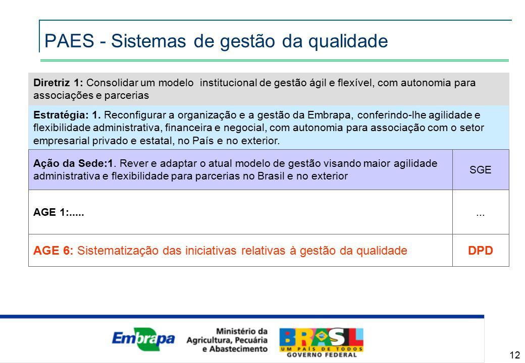 12 Diretriz 1: Consolidar um modelo institucional de gestão ágil e flexível, com autonomia para associações e parcerias Estratégia: 1.