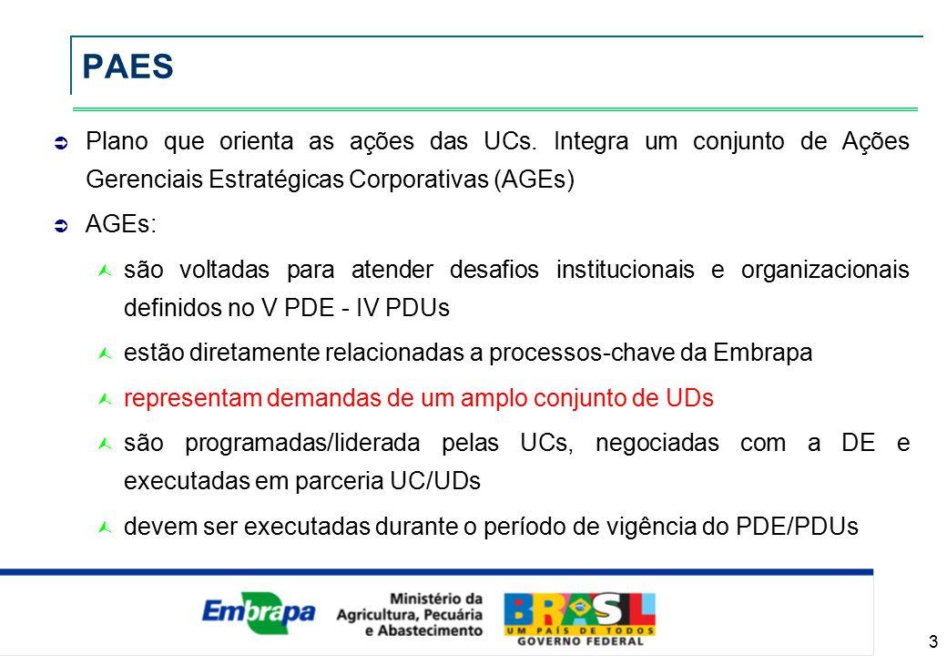 14 PAES - Sistemas de gestão da qualidade AGEsAGEs Sistematização das iniciativas relativas à gestão da qualidade Workshop Gestão da Qualidade (novembro) Consolidação de ações em andamento Diretrizes de Sistema de gestão da qualidade