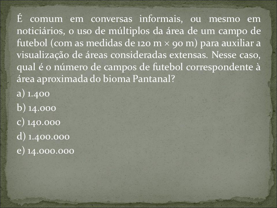 É comum em conversas informais, ou mesmo em noticiários, o uso de múltiplos da área de um campo de futebol (com as medidas de 120 m  90 m) para auxil