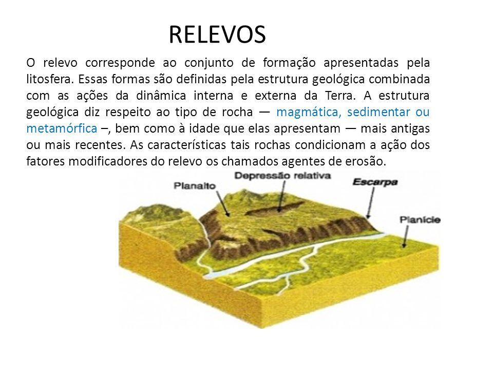 RELEVOS O relevo corresponde ao conjunto de formação apresentadas pela litosfera. Essas formas são definidas pela estrutura geológica combinada com as