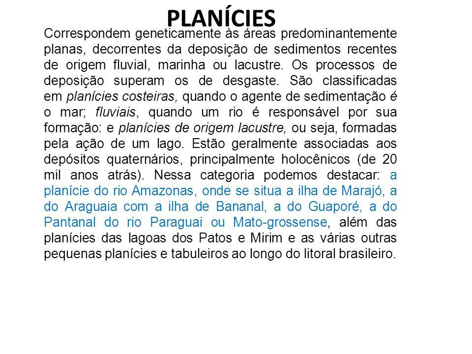 PLANÍCIES Correspondem geneticamente às áreas predominantemente planas, decorrentes da deposição de sedimentos recentes de origem fluvial, marinha ou