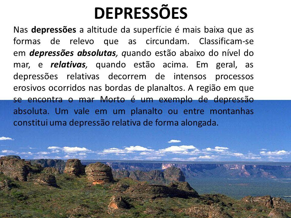 DEPRESSÕES Nas depressões a altitude da superfície é mais baixa que as formas de relevo que as circundam. Classificam-se em depressões absolutas, quan