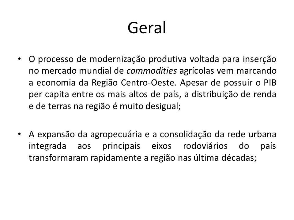 Geral O processo de modernização produtiva voltada para inserção no mercado mundial de commodities agrícolas vem marcando a economia da Região Centro-