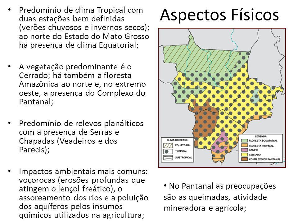 Aspectos Físicos Predomínio de clima Tropical com duas estações bem definidas (verões chuvosos e invernos secos); ao norte do Estado do Mato Grosso há