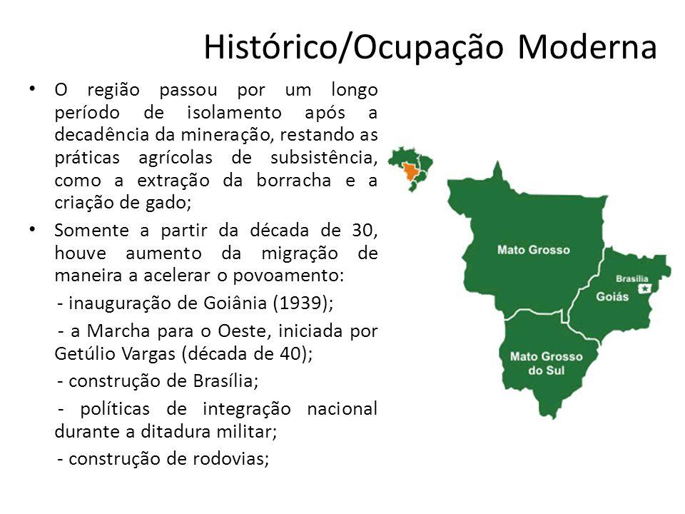 Histórico/Ocupação Moderna O região passou por um longo período de isolamento após a decadência da mineração, restando as práticas agrícolas de subsis