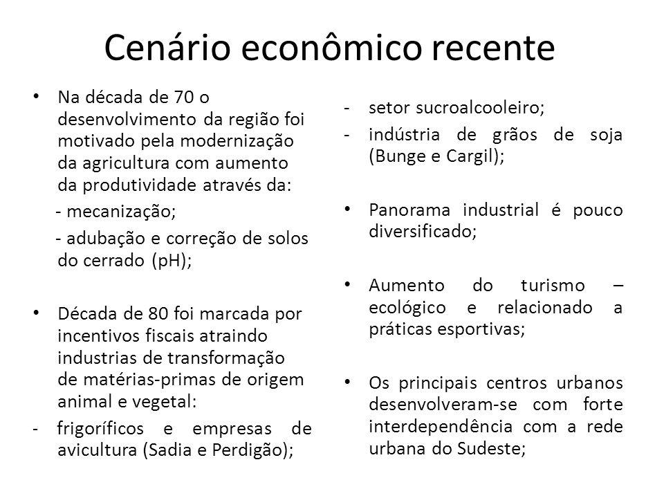 Cenário econômico recente Na década de 70 o desenvolvimento da região foi motivado pela modernização da agricultura com aumento da produtividade atrav