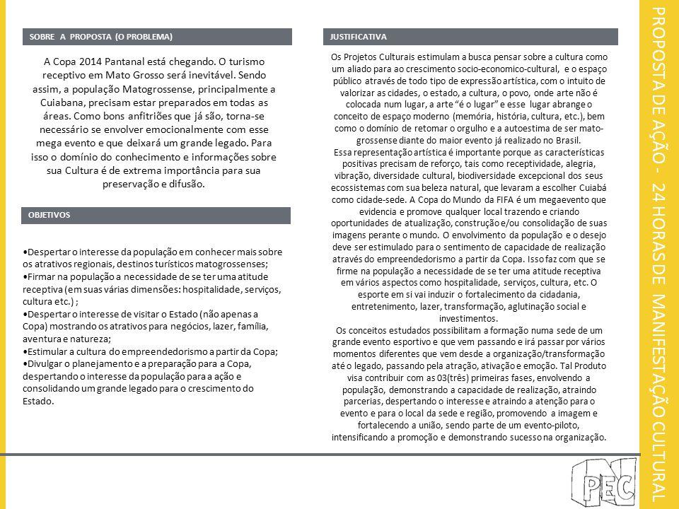 PROPOSTA DE AÇÃO - 24 HORAS DE MANIFESTAÇÃO CULTURAL SOBRE A PROPOSTA (O PROBLEMA)JUSTIFICATIVA A Copa 2014 Pantanal está chegando. O turismo receptiv