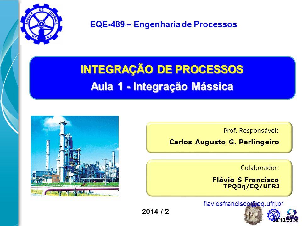 2014 / 2 Colaborador: Flávio S Francisco Prof. Responsável: Carlos Augusto G. Perlingeiro INTEGRAÇÃO DE PROCESSOS Aula 1 - Integração Mássica EQE-489