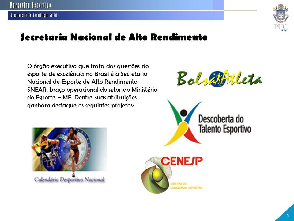 Secretaria Nacional de Alto Rendimento 1 O órgão executivo que trata das questões do esporte de excelência no Brasil é a Secretaria Nacional de Esporte de Alto Rendimento – SNEAR, braço operacional do setor do Ministério do Esporte – ME.