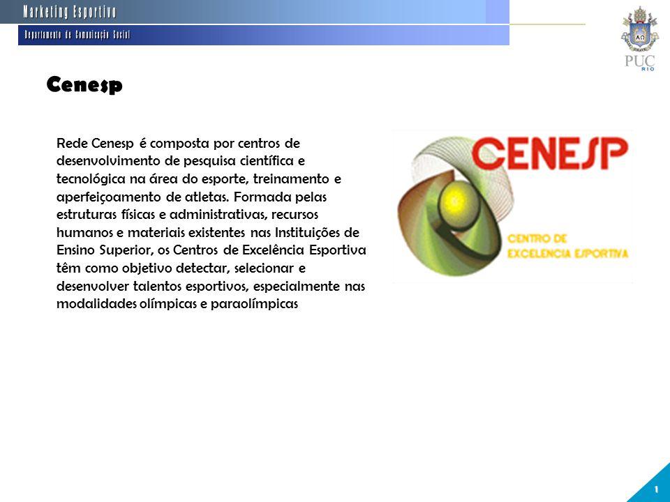 Cenesp 1 Rede Cenesp é composta por centros de desenvolvimento de pesquisa científica e tecnológica na área do esporte, treinamento e aperfeiçoamento de atletas.