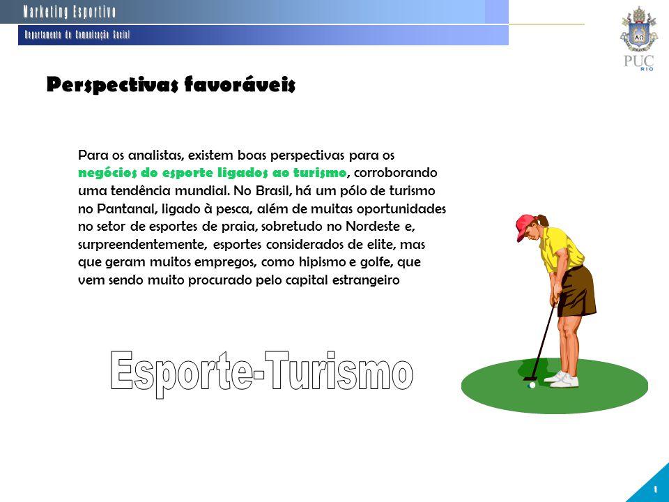 Perspectivas favoráveis 1 Para os analistas, existem boas perspectivas para os negócios do esporte ligados ao turismo, corroborando uma tendência mundial.