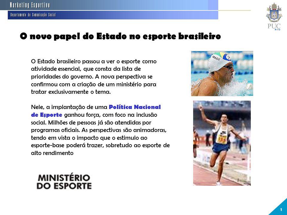 O novo papel do Estado no esporte brasileiro 1 O Estado brasileiro passou a ver o esporte como atividade essencial, que consta da lista de prioridades do governo.