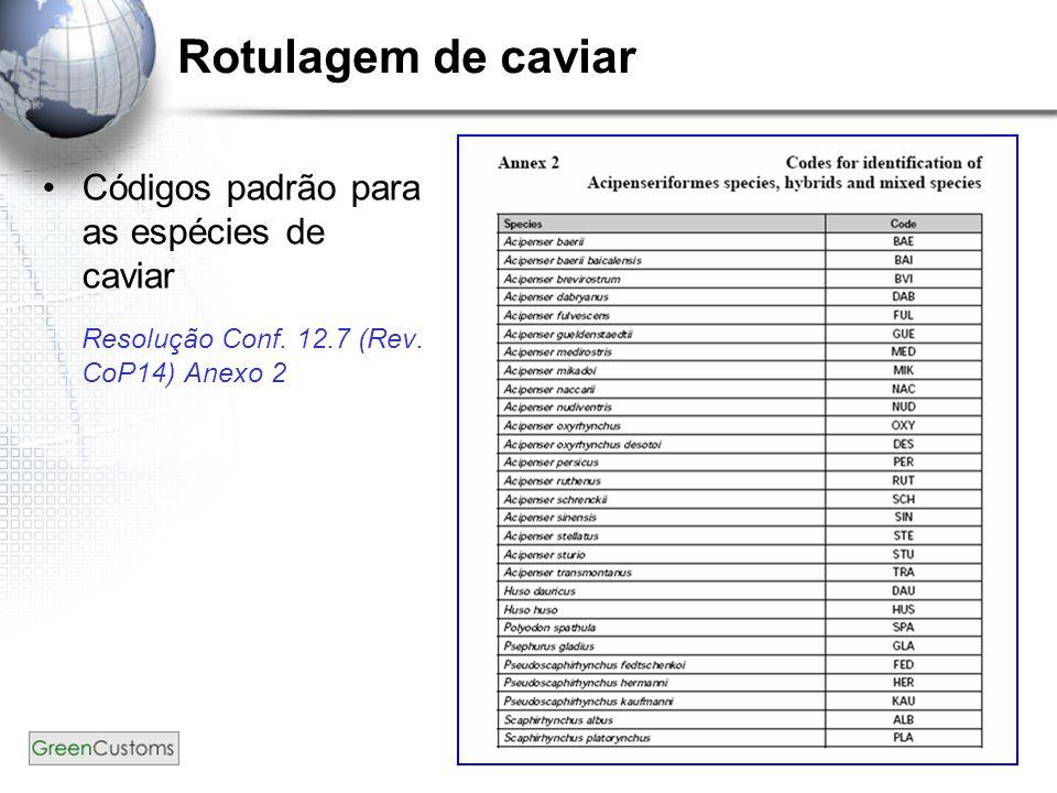 7 Rotulagem de caviar Códigos padrão para as espécies de caviar Resolução Conf.