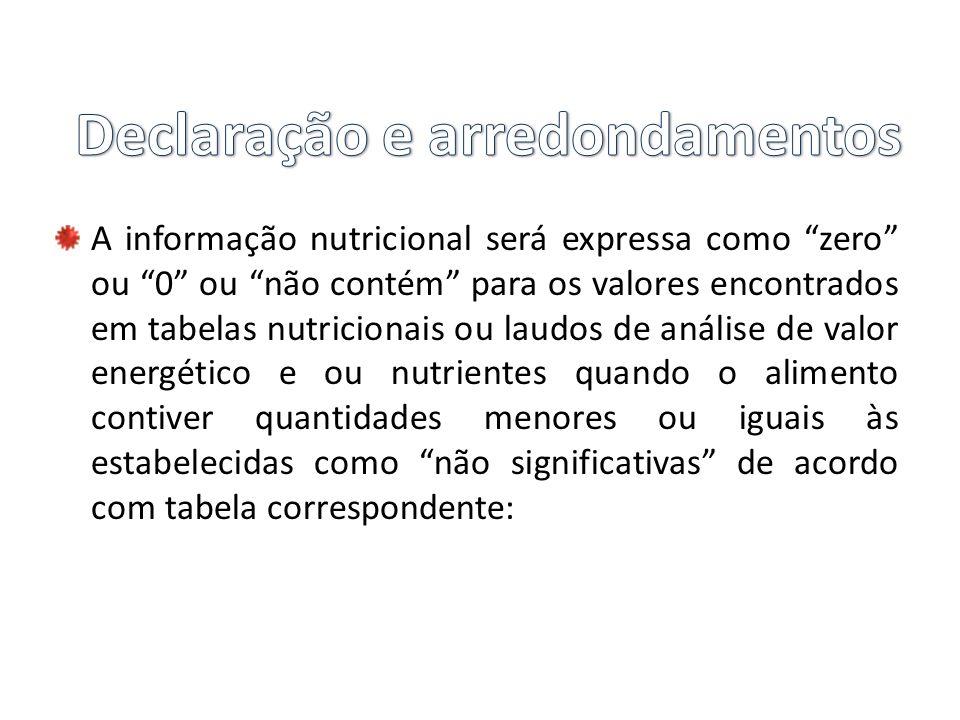 """A informação nutricional será expressa como """"zero"""" ou """"0"""" ou """"não contém"""" para os valores encontrados em tabelas nutricionais ou laudos de análise de"""