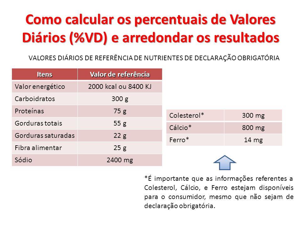 Como calcular os percentuais de Valores Diários (%VD) e arredondar os resultados VALORES DIÁRIOS DE REFERÊNCIA DE NUTRIENTES DE DECLARAÇÃO OBRIGATÓRIA