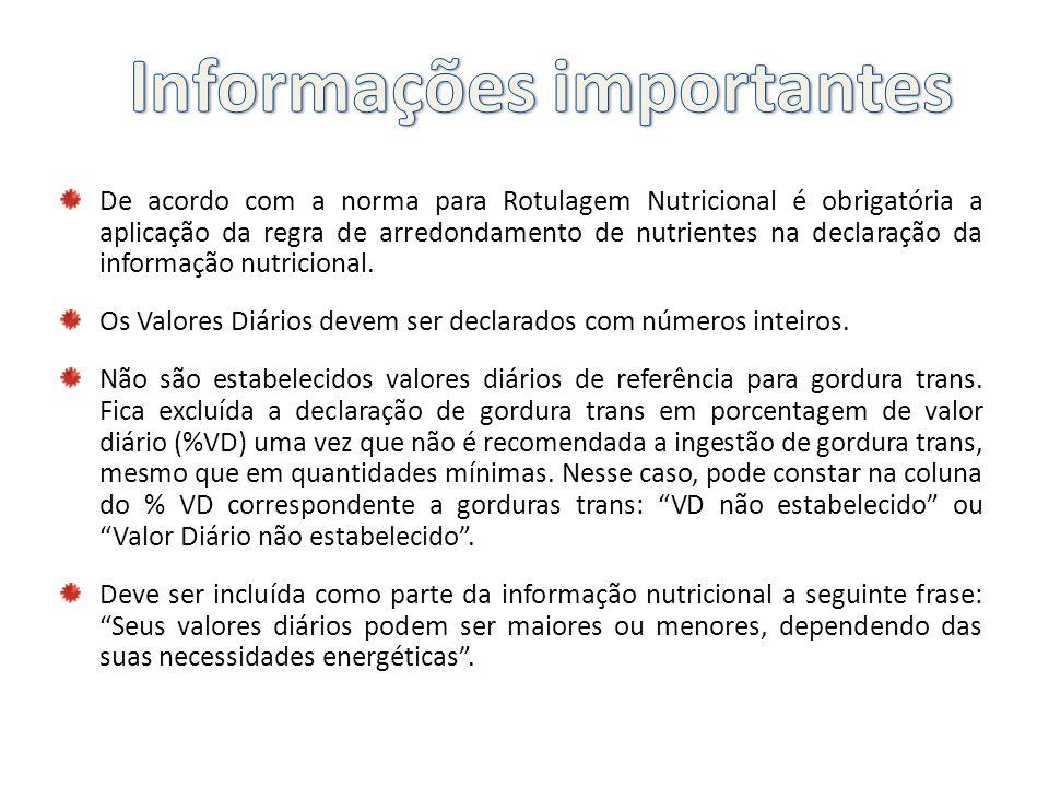 De acordo com a norma para Rotulagem Nutricional é obrigatória a aplicação da regra de arredondamento de nutrientes na declaração da informação nutric