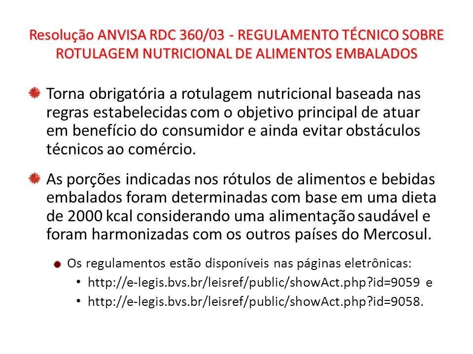 Resolução ANVISA RDC 360/03 - REGULAMENTO TÉCNICO SOBRE ROTULAGEM NUTRICIONAL DE ALIMENTOS EMBALADOS Torna obrigatória a rotulagem nutricional baseada