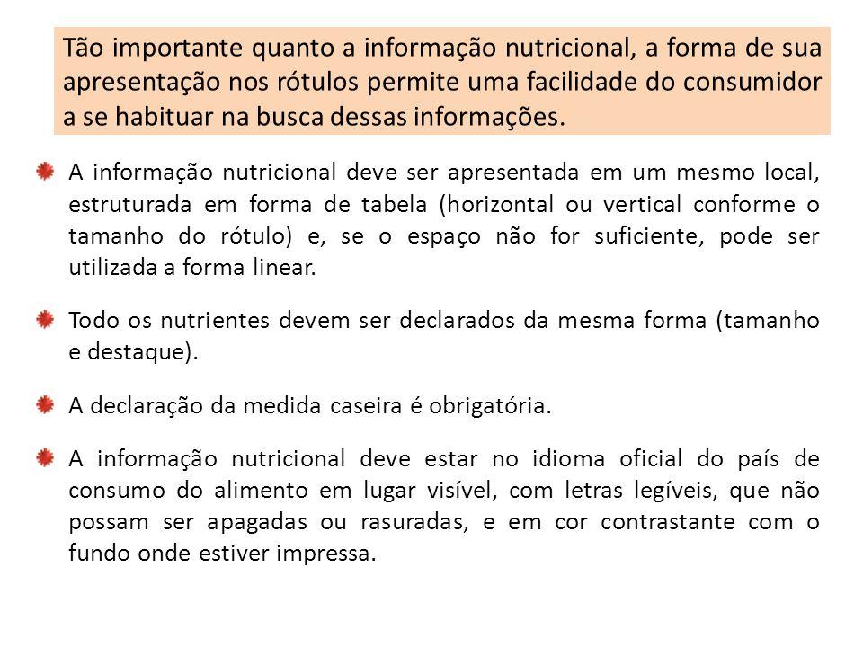 Tão importante quanto a informação nutricional, a forma de sua apresentação nos rótulos permite uma facilidade do consumidor a se habituar na busca de