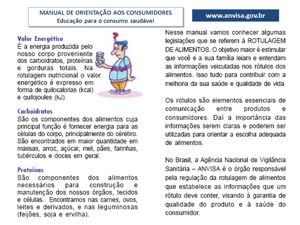 www.anvisa.gov.br MANUAL DE ORIENTAÇÃO AOS CONSUMIDORES Educação para o consumo saudável MANUAL DE ORIENTAÇÃO AOS CONSUMIDORES Educação para o consumo