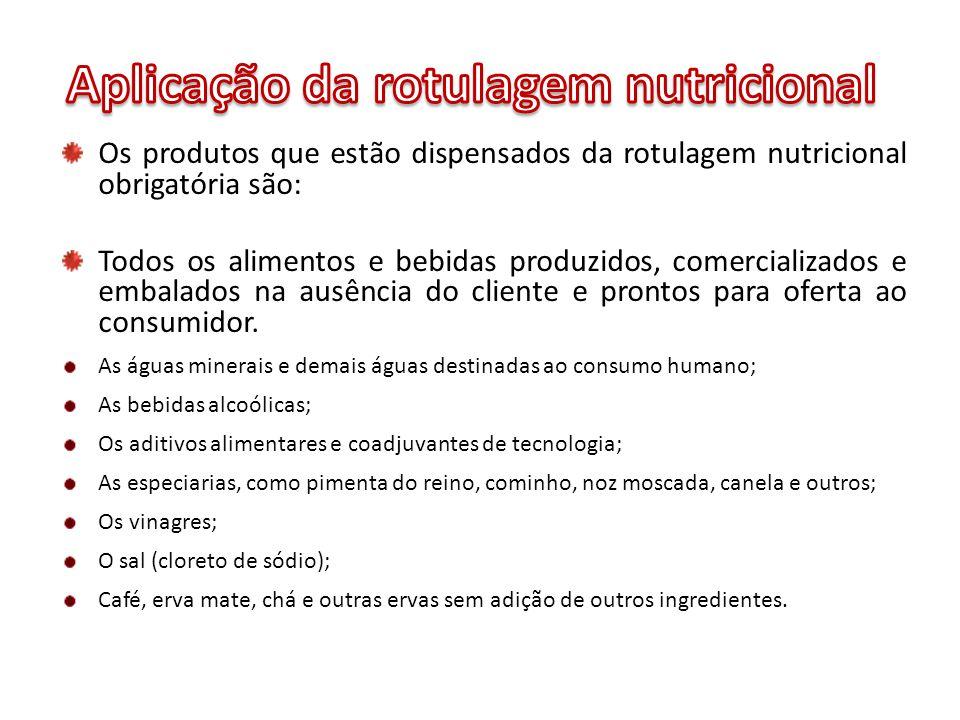 Os produtos que estão dispensados da rotulagem nutricional obrigatória são: Todos os alimentos e bebidas produzidos, comercializados e embalados na au