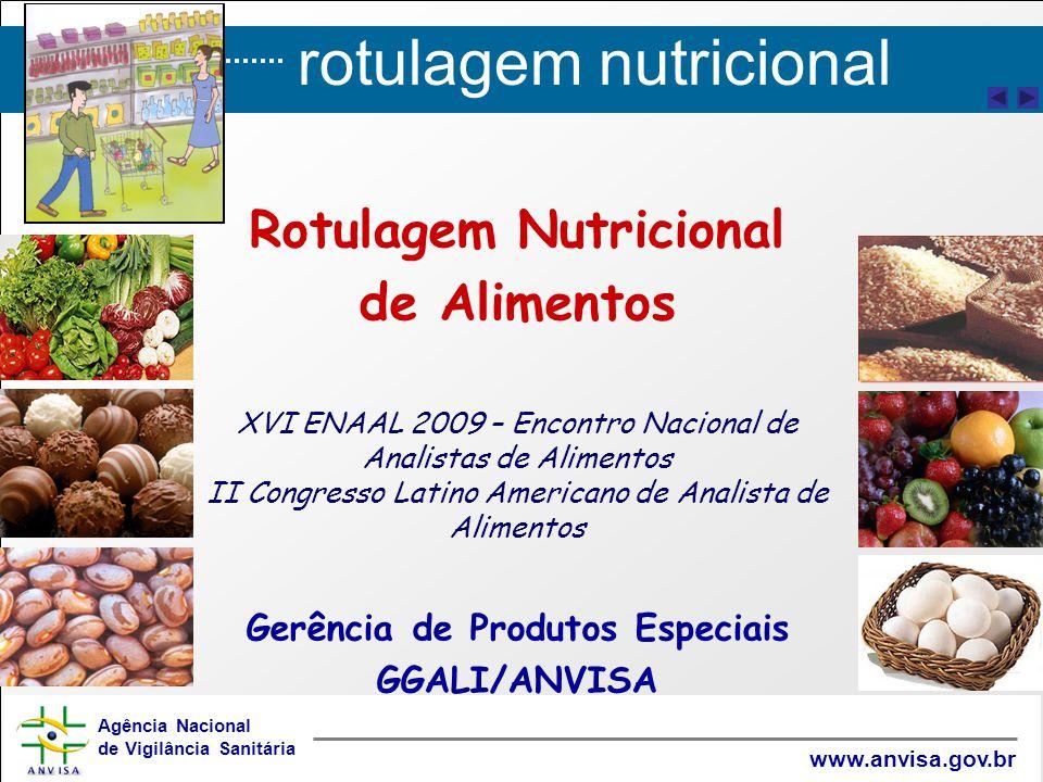 rotulagem nutricional Agência Nacional de Vigilância Sanitária www.anvisa.gov.br Gerência Geral de Alimentos / Gerência de Produtos Especiais alimentos@anvisa.gov.bralimentos@anvisa.gov.br / gpesp@anvisa.gov.brgpesp@anvisa.gov.br Fone: (61) 3462 5329 Obrigada!