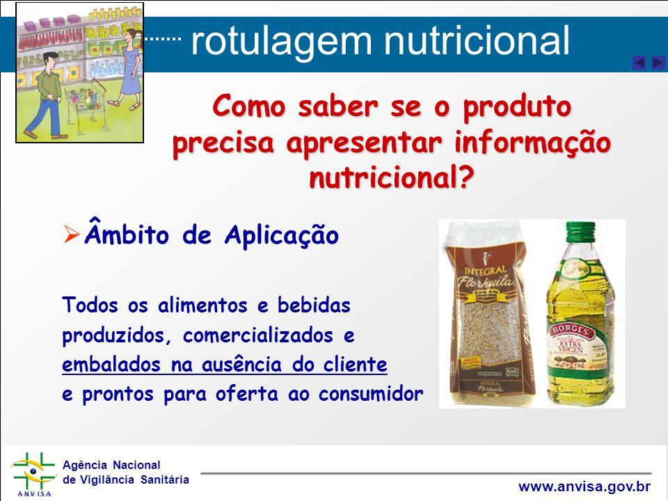 rotulagem nutricional Agência Nacional de Vigilância Sanitária www.anvisa.gov.br   Âmbito de Aplicação Todos os alimentos e bebidas produzidos, come