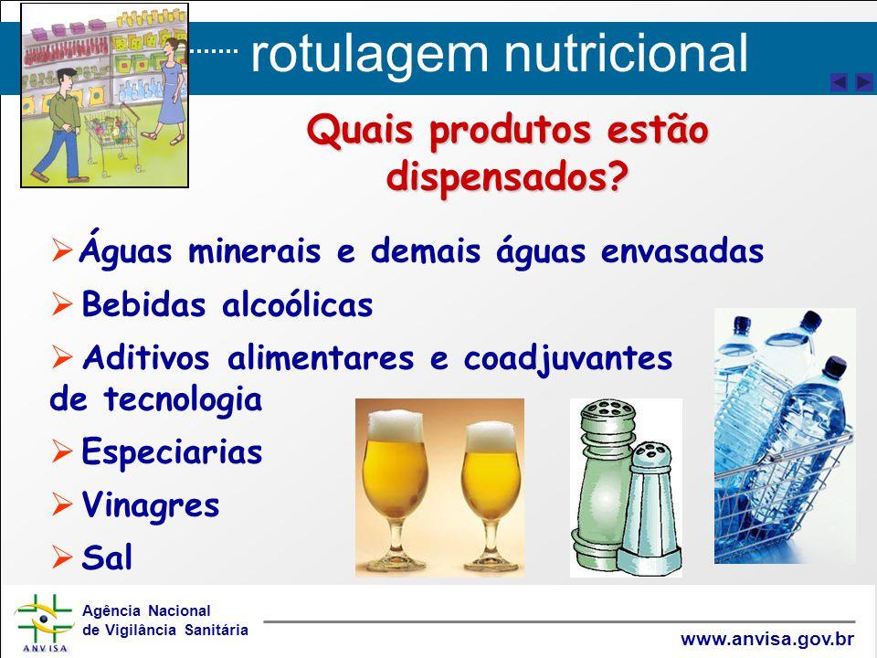 rotulagem nutricional Agência Nacional de Vigilância Sanitária www.anvisa.gov.br   Águas minerais e demais águas envasadas   Bebidas alcoólicas 