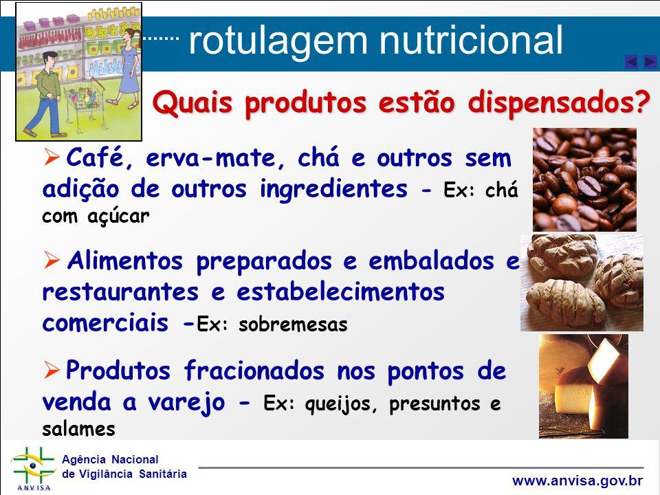 rotulagem nutricional Agência Nacional de Vigilância Sanitária www.anvisa.gov.br   Café, erva-mate, chá e outros sem adição de outros ingredientes -