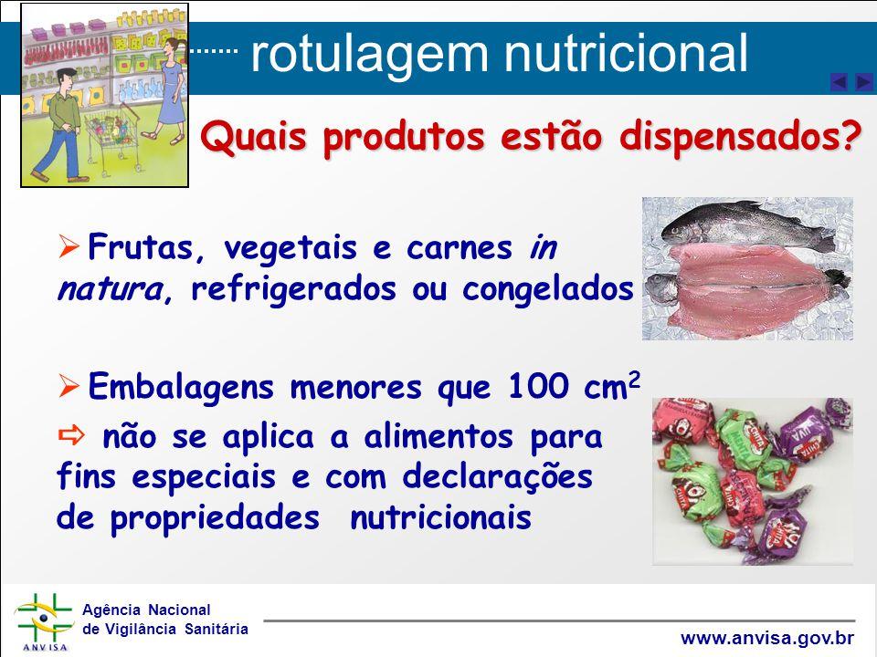 rotulagem nutricional Agência Nacional de Vigilância Sanitária www.anvisa.gov.br   Frutas, vegetais e carnes in natura, refrigerados ou congelados 