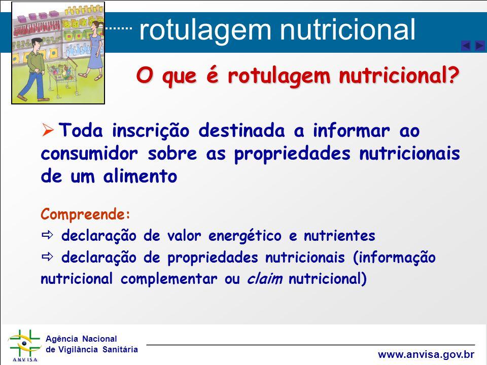 rotulagem nutricional Agência Nacional de Vigilância Sanitária www.anvisa.gov.br   Toda inscrição destinada a informar ao consumidor sobre as propri