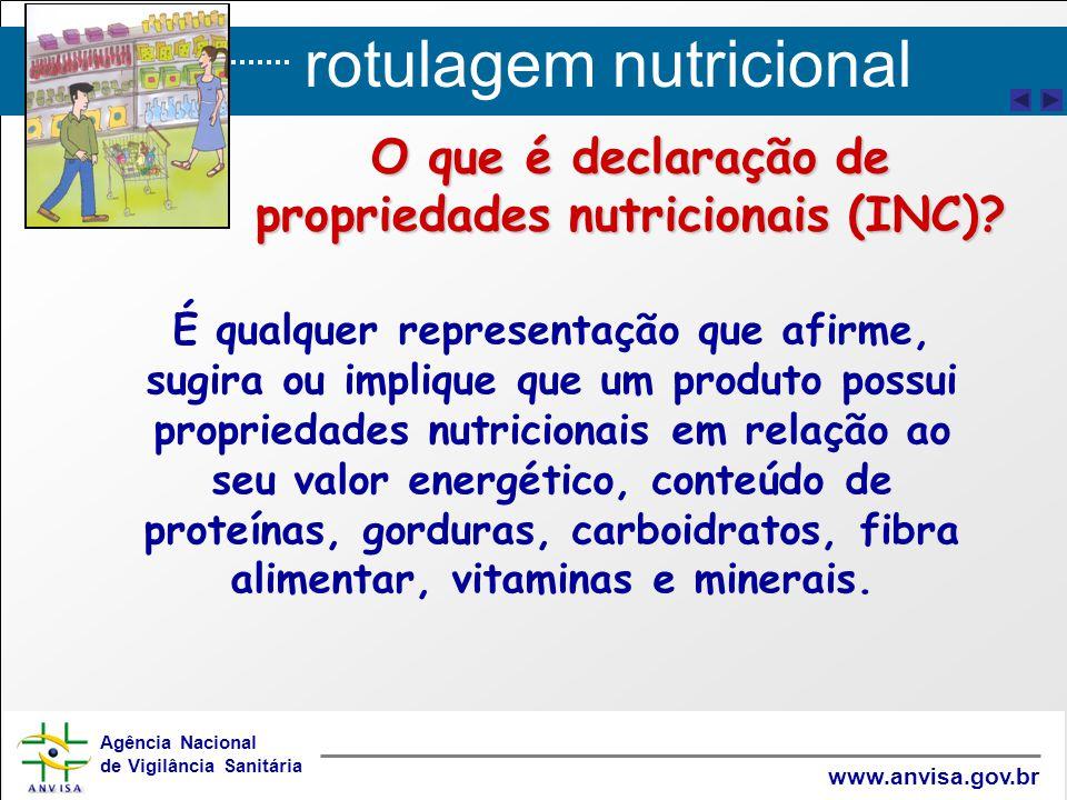 rotulagem nutricional Agência Nacional de Vigilância Sanitária www.anvisa.gov.br É qualquer representação que afirme, sugira ou implique que um produt