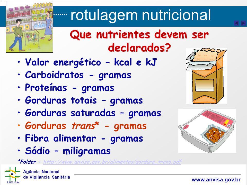 rotulagem nutricional Agência Nacional de Vigilância Sanitária www.anvisa.gov.br Que nutrientes devem ser declarados? Valor energético – kcal e kJ Car