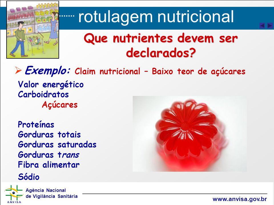 rotulagem nutricional Agência Nacional de Vigilância Sanitária www.anvisa.gov.br Que nutrientes devem ser declarados?   Exemplo: Claim nutricional –