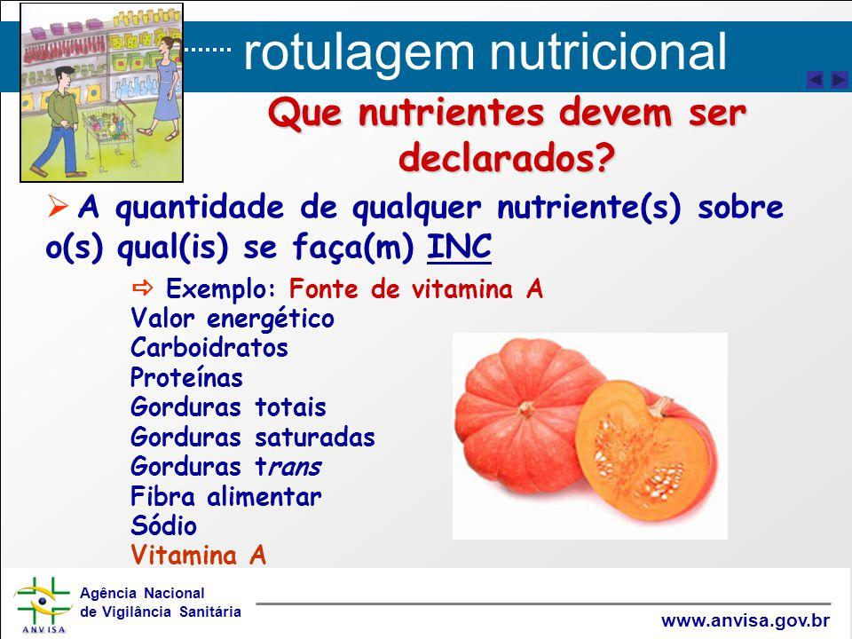 rotulagem nutricional Agência Nacional de Vigilância Sanitária www.anvisa.gov.br Que nutrientes devem ser declarados?   A quantidade de qualquer nut