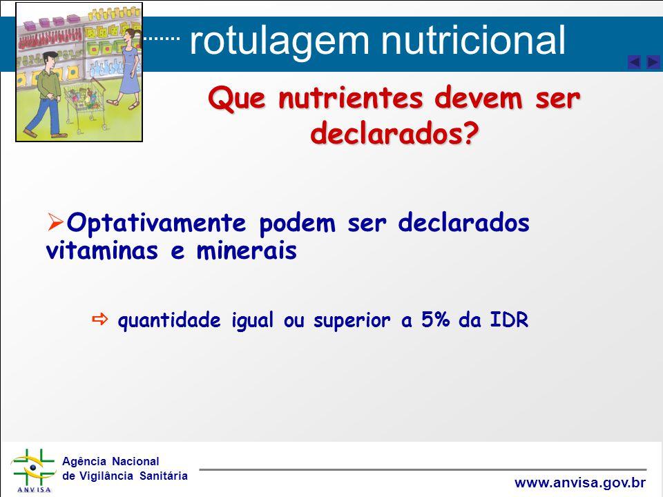 rotulagem nutricional Agência Nacional de Vigilância Sanitária www.anvisa.gov.br Que nutrientes devem ser declarados?   Optativamente podem ser decl